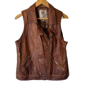 Nevada Faux Vegan Leather Bohemian Rugged Rustic Weathered Brown Zippered Vest